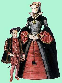 Знатная дама и мальчик.1550г. Иллюстрированная энциклопедия. История костюма и моды . Джек Кэссин-Скотт. Источник иллюстрации - Бронзино(1503-1572) итальянский художник и Ганс Эворт