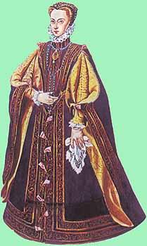 Испанская принцесса в платье-кринолине, 1571 г. Иллюстрированная энциклопедия. История костюма и моды . Джек Кэссин-Скотт. Источник иллюстрации - Алонсо Санчес Коэльо [испанский художник (1531 - 1588)]