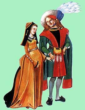 Мужчина и женщина из Франции или Фландрии,1480 г. Иллюстрированная энциклопедия. История костюма и моды . Джек Кэссин-Скотт. Источник иллюстрации - Манускрипты, хранящиеся в Британском музее