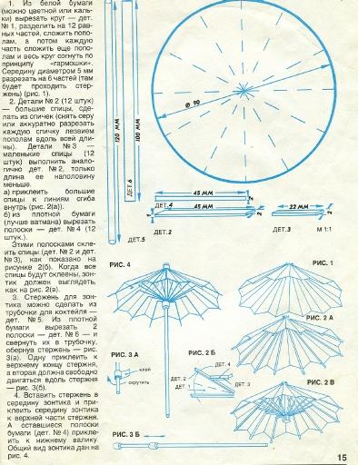 Нашла наконец то как сделать складной зонтик.  Описание понятное.